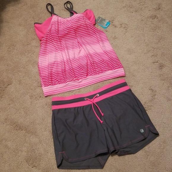 0bc20d43d3 Free Country Swim   Pink And Gray Tankini And Shorts Set   Poshmark